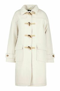 Womens Collared Wool Look Duffle Coat - white - 14, White