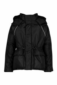 Womens Contrast Piping Synch Waist Parka - black - 8, Black