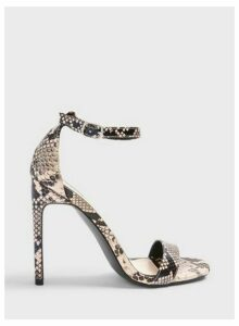 Womens Sallie Grey Snake Print Barely There Heeled Sandals, GREY