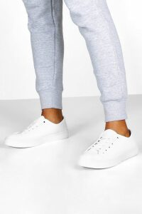 Womens Basic Canvas Lace Up Pumps - white - 5, White