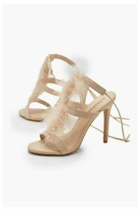 Womens Feather Trim Heeled Sandals - pink - 8, Pink