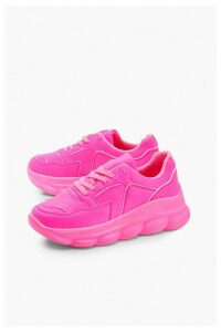 Womens Bubble Sole Neon Trainers - Pink - 7, Pink