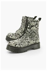 Womens Wide Fit Snake Platform Hiker Boots - beige - 7, Beige