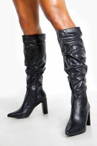 Womens Block Heel Rouched Knee Boots - black - 6, Black