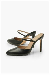Womens Pointed Mule Court Shoes - black - 4, Black