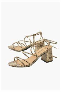 Womens Wide Fit Snake Wrap Block Heels - beige - 8, Beige