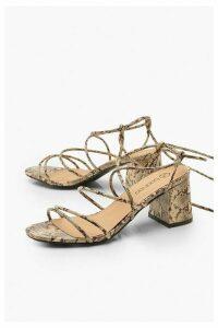 Womens Extra Wide Fit Snake Block Heels - beige - 8, Beige