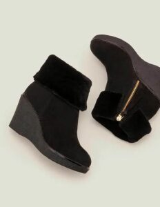 Chaldon Shearling Wedge Boots Black Women Boden, Black