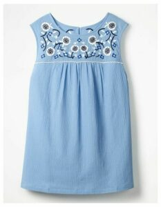 Portia Embroidered Top Blue Women Boden, Blue
