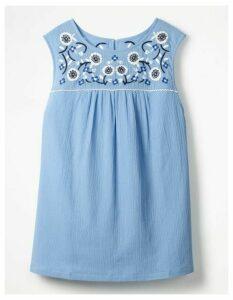 Portia Embroidered Top Blue Women Boden, Blue