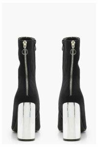 Womens Contrast Heel Velvet Sock Boots - black - 5, Black