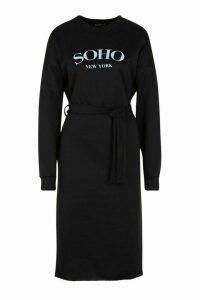 Womens Soho Self Belt Midi Sweat Dress - black - 14, Black