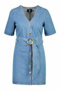 Womens Mock Horn Button Belted Denim Dress - Blue - 8, Blue