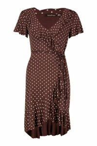 Womens Polka Dot Wrap Front Ruffle Tea Dress - Brown - 6, Brown