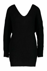 Womens Petite Knot Back Jumper Dress - black - M/L, Black