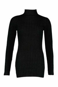 Womens Petite Rib Knit Roll Neck Jumper Dress - black - L, Black