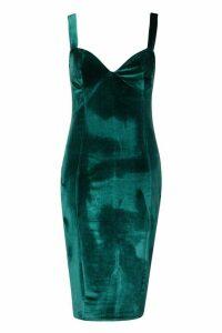 Womens Velvet Bustier Midi Dress - Green - 16, Green