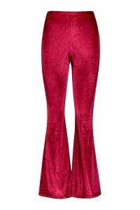 Womens Petite Velvet Flared Trousers - 14, Red