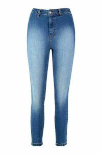 Womens Petite Super High Waisted Power Stretch Skinny Jeans - Blue - 8, Blue