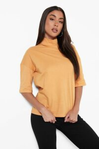 Womens Basic Oversized High Neck 3/4 Sleeve T-Shirt - beige - 8, Beige
