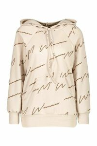 Womens Woman Script All Over Print Oversized Hoodie - Beige - 14/16, Beige