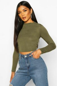 Womens Basic Funnel Neck Long Sleeve Crop Top - Green - 6, Green