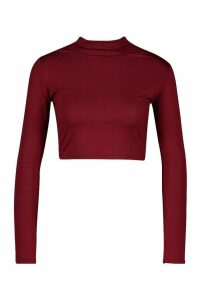 Womens Basic Funnel Neck Long Sleeve Crop Top - red - 14, Red