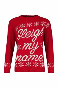 Womens Sleigh My Name Snowflake Slogan Christmas Jumper - red - S/M, Red