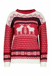 Womens Fairisle Reindeer Christmas Jumper - red - M/L, Red