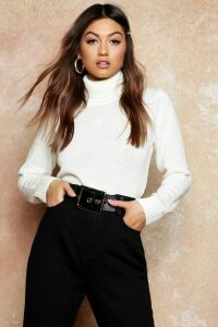 Womens Roll Neck Crop Jumper - white - S, White