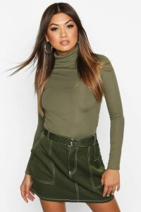 Womens Rib roll/polo neck Long Sleeve Top - green - 8, Green