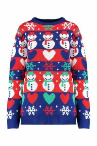 Womens Fairisle Snowman Christmas Jumper - blue - M, Blue