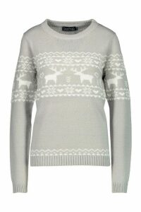 Womens Christmas Reindeer Fairisle Jumper - grey - XS, Grey