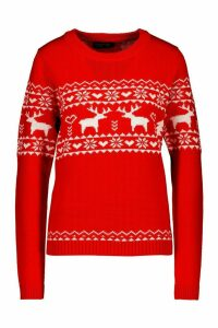 Womens Christmas Reindeer Fairisle Jumper - red - XS, Red