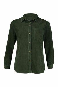 Womens Longline Cord Boyfriend Shirt - green - 16, Green