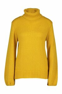 Womens Oversized Roll Neck Jumper - yellow - L, Yellow