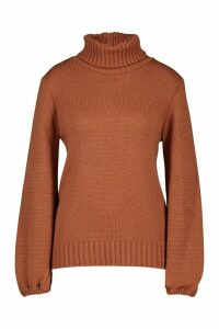 Womens Oversized Roll Neck Jumper - beige - M, Beige