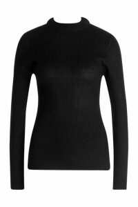 Womens Ribbed Turtleneck Jumper - black - M, Black