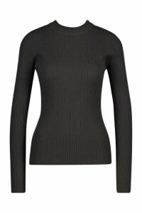Womens Ribbed Turtleneck Jumper - grey - S, Grey