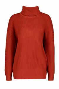 Womens Roll Neck Knitted Oversized Jumper - orange - S/M, Orange