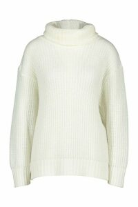 Womens Oversized Roll Neck Rib Knit Jumper - cream - L, Cream