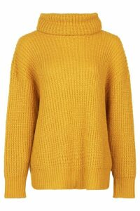Womens Oversized Roll Neck Rib Knit Jumper - yellow - L, Yellow
