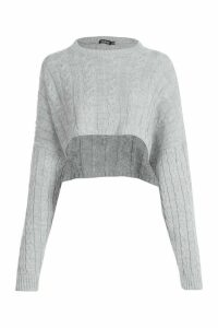 Womens Box Cropped Knitted Cable Jumper - grey - M, Grey