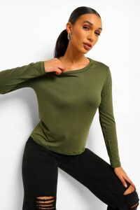 Womens Basic Long Sleeve Crew Neck T-Shirt - Green - 16, Green