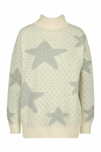 Womens Premium Embellished Tinsel Christmas Jumper - white - M, White
