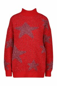 Womens Premium Embellished Tinsel Christmas Jumper - red - S, Red