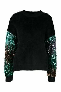 Womens Premium Embellished Tinsel Jumper - black - S, Black