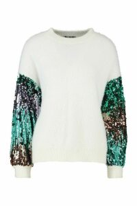 Womens Premium Embellished Tinsel Jumper - white - M, White