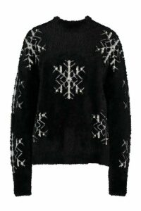 Womens Premium Snowflake Fluffy Christmas Jumper - black - S, Black