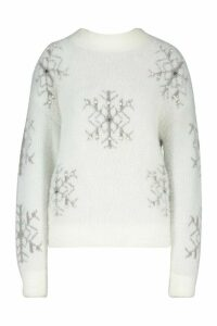 Womens Premium Embellished Feather Knit Jumper - white - M, White